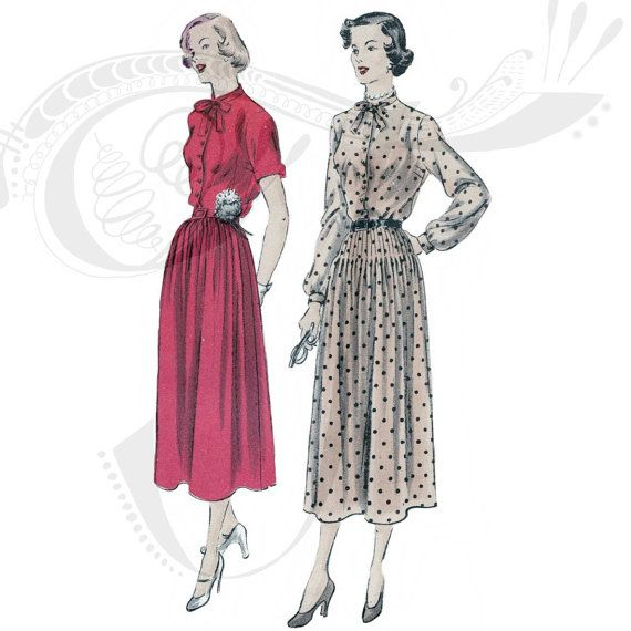 40s Vogue sewing patterns 6765  Smart day dress pattern by Tigrisa