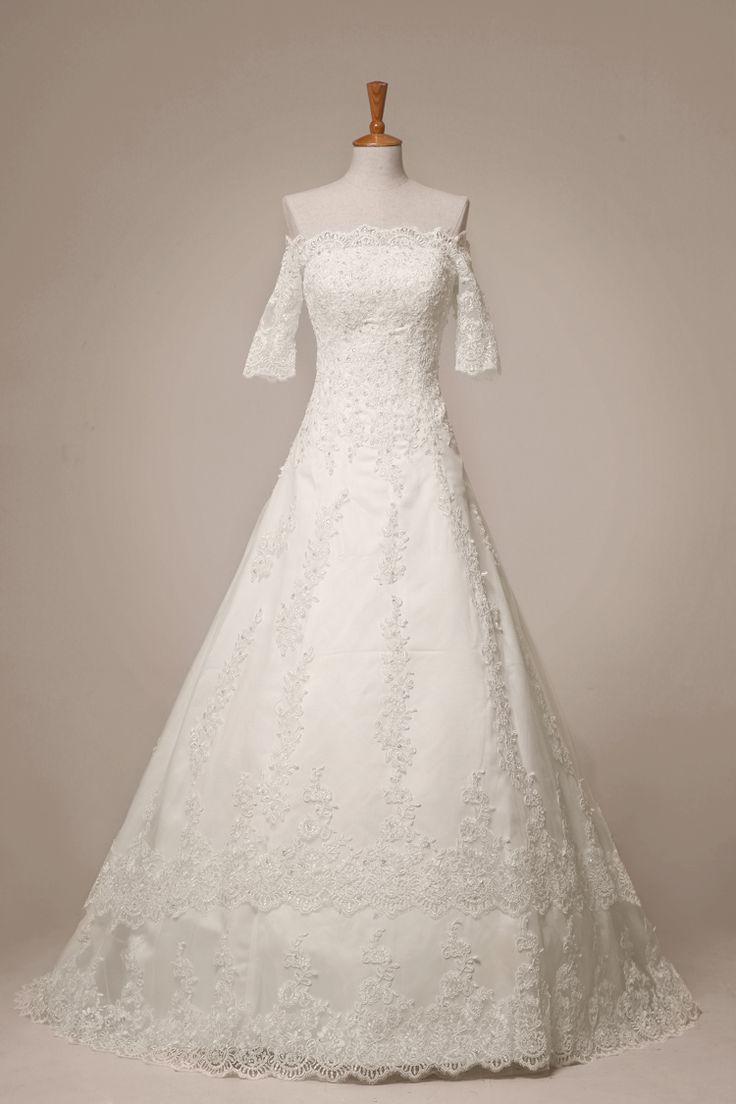 Fashion elegant wedding gown formal dress 2013 long sleeve vintage lace  slit neckline wedding dress princess