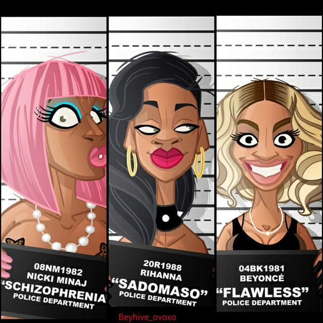 Beyonce Nicki & Rihanna .This is funny Rihanna lips Ain't that big neither yonce or Nicki . Nicki don't where pink hair no more