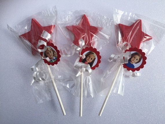 American Girl doll set of 12 Red Star chocolate lollipops! www.RockinPartyTreats.Etsy.com