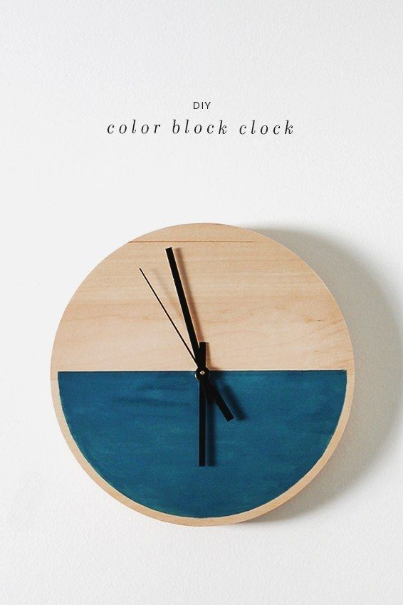 Be colorful only half the time with a colorblock clock: | 23 DIYs For Everyone Obsessed With Colorblocking