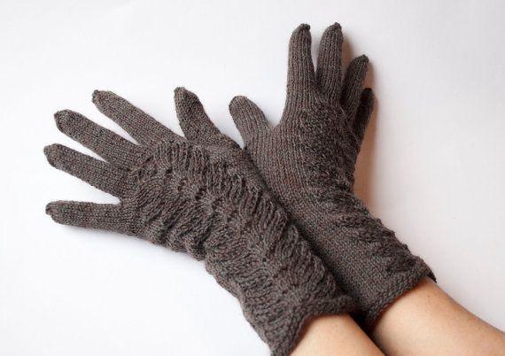 Hand Knitted Gloves dark brown  Elegant Arm Warmers by DriadaD, $45.00