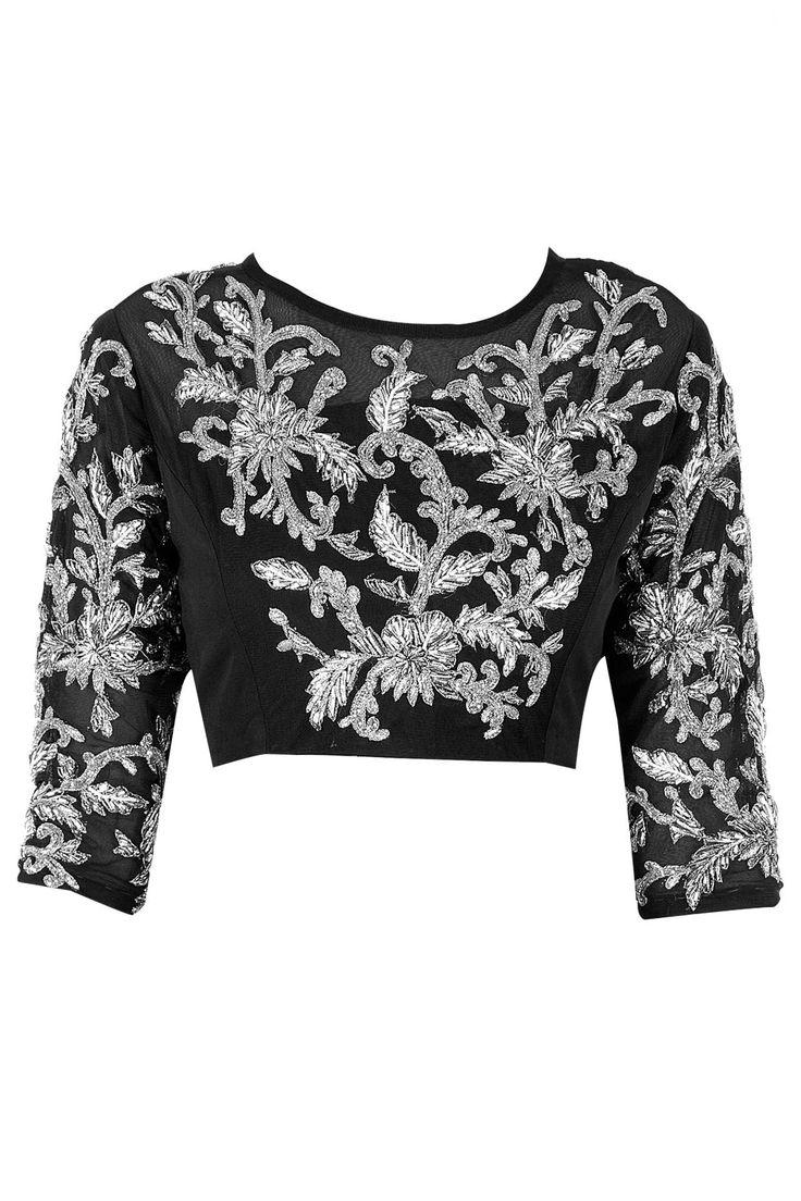 Black embroidered blouse BY BHAAVYA BHATNAGAR. at perniaspopupshop.com #perniaspopupshop #clothes #womensfashion #love #indiandesigner #bhavyabhatnagar #happyshopping #sexy #chic #fabulous #PerniasPopUpShop #ethnic #indian