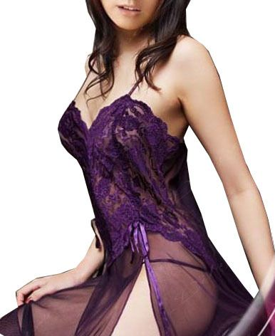Plus Size XXL S- 6XL Purple Black Blue Mesh Sheer Night Dressing Gown Sexy Long…