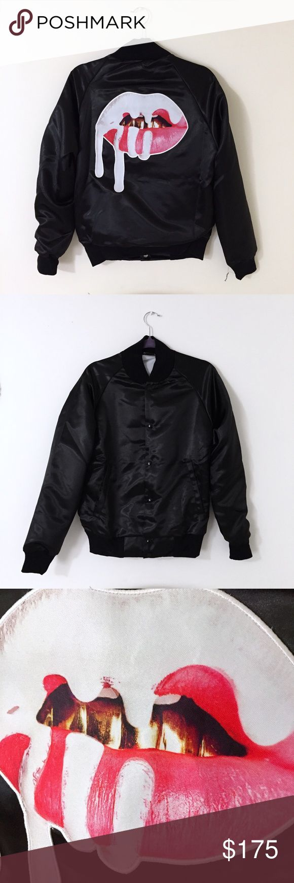 """Kylie's """"Lip Satin Bomber Jacket"""" (Black) This never worn jacket accompanied by a pair of """"Kylie X Arthur George"""" socks can be yours.                                      (In order to photograph the jacket, I had to remove it from the bag it came in. It did not come with any tags, however it was ordered directly from The Official Kylie Jenner Shop.) Kylie Jackets & Coats"""