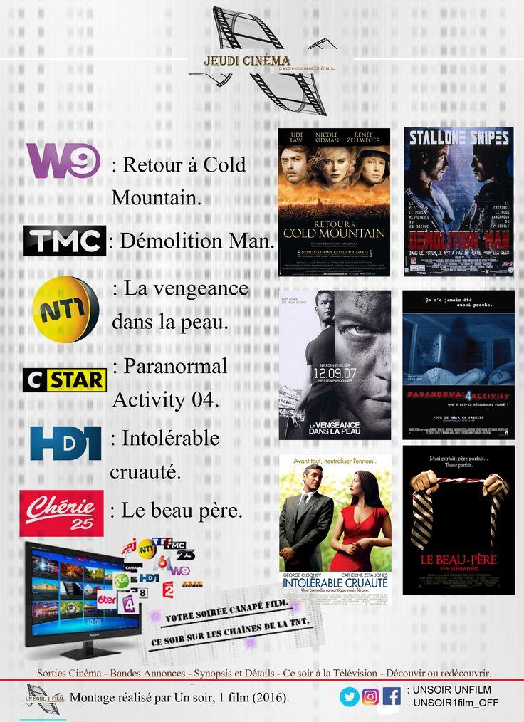 Votre soirée Jeudi Cinéma.  Retrouvez à 20hr50, sur les chaînes de la tnt:  - W9, Retour à Cold Mountain. Bande annonce: http://www.allocine.fr/video/player_gen_cmedia=18360004&cfilm=35535.html  - TMC, Demolition Man: Bande annonce: https://youtu.be/awZ8NiBShHA  - NT1, La vengeance dans le peau. Bande annonce: http://www.allocine.fr/video/player_gen_cmedia=18729113&cfilm=59809.html  - C Star, Paranormal Activity 04. Bande annonce: https://youtu.be/hq2oyFiKKHY  - HD1, Intolérable Cruauté…
