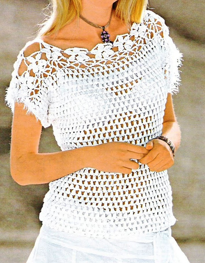 Jersey blanco con canesú de flores - patron - tejidogratis.com