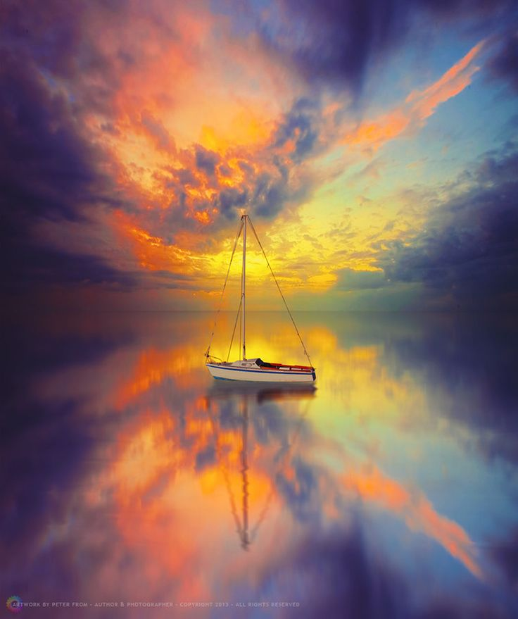 Silence by Peter From, sail boat, sunset, sunrise, water, reflection, peaceful, colourful, clouds, beauty of Nature, photograph, photo