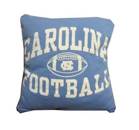 University of North Carolina Tar Heels football recycled t-shirt pillow