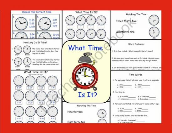 Telling Time Printable Worksheets from Teaching The Smart Way on TeachersNotebook.com (8 pages)