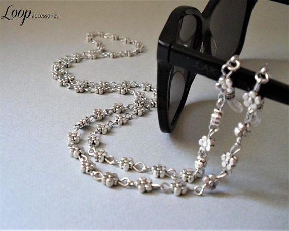 Daisy Eyeglasses Chain/Silver Glasses Chain/Eyeglass lanyard