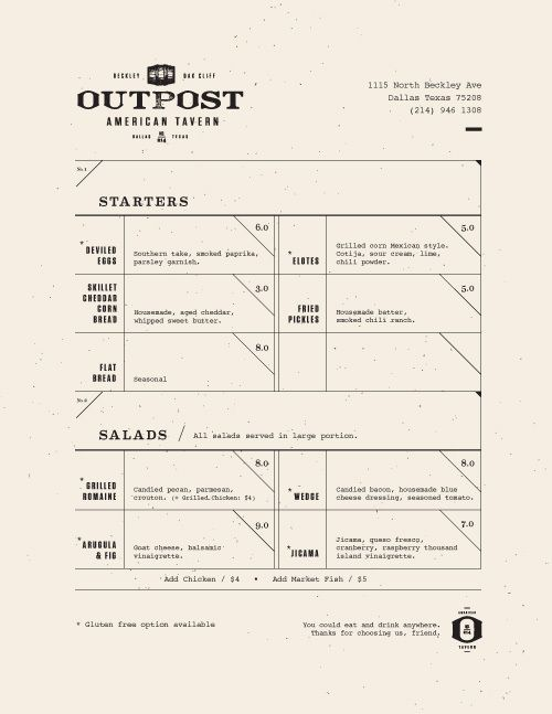 Layout / Art of the Menu: Outpost — Designspiration