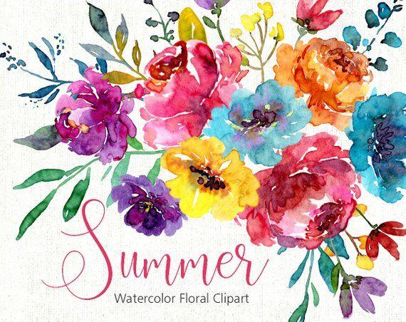 Bright Watercolor Floral Clipart Digital Download Aquarelle Summer
