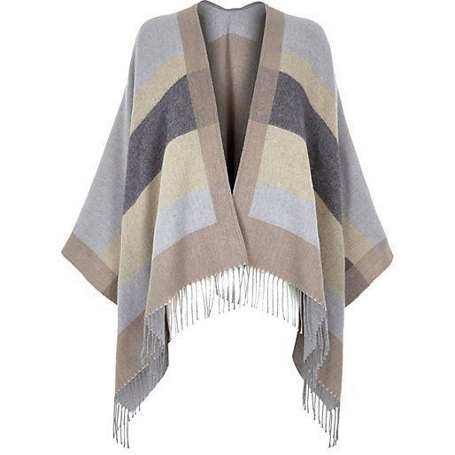 River Island grey striped blanket cape