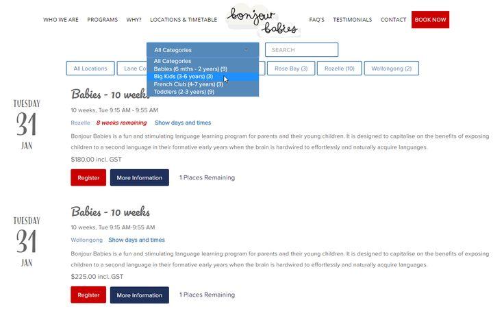 Upcoming course & event list - http://bonjourbabies.com.au/