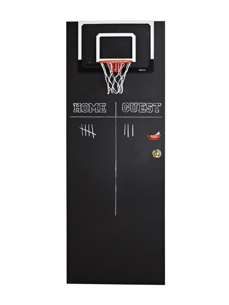 DIY idea for decorating a door. Paint with black chalkboard paint and attach a coordinating basketball hoop. This was intended for a kid's room/playroom, but it looks pretty neutral and I like it.