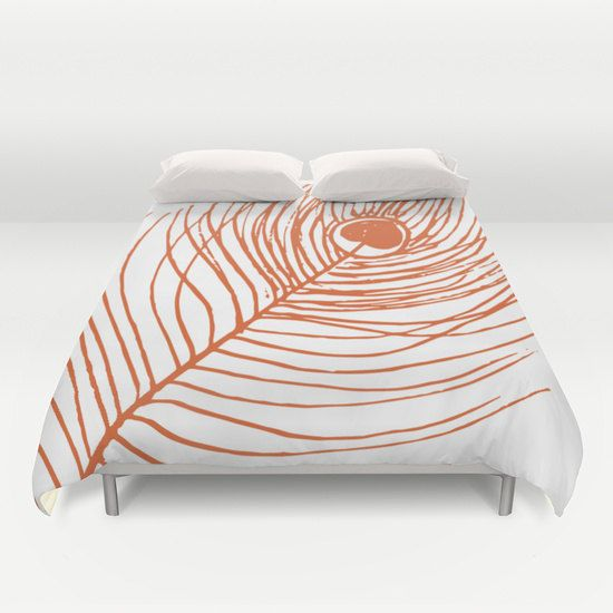 Pea Feather Duvet Cover Full Queen King Size Rust Orange Modern