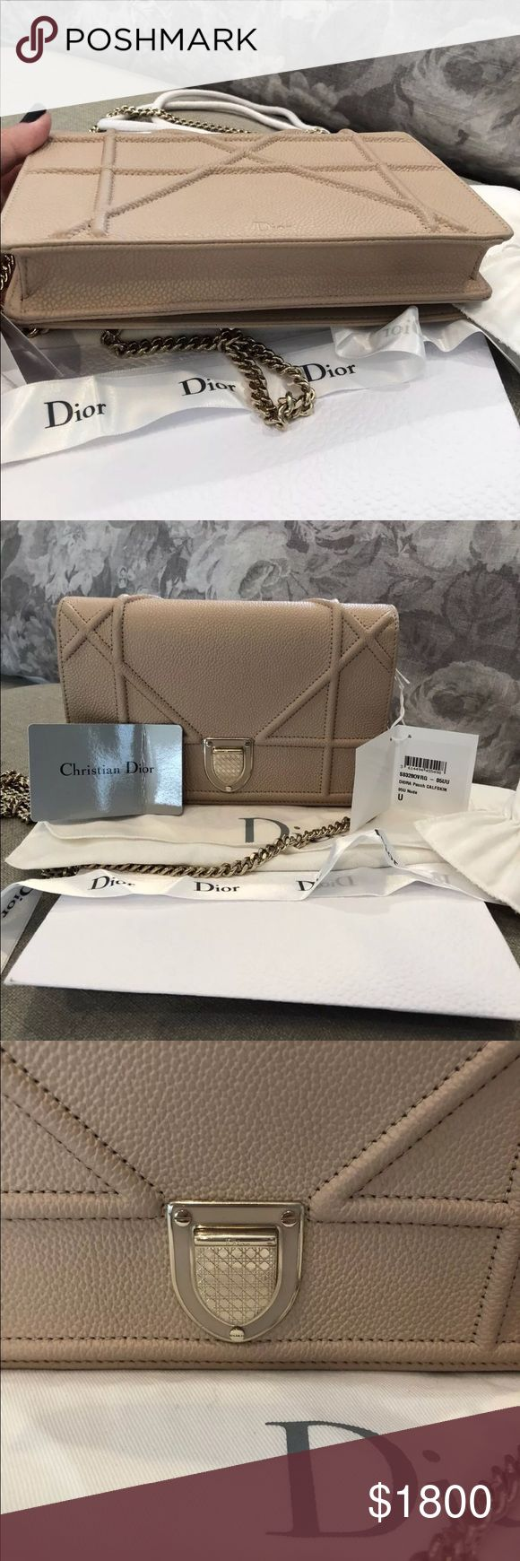 Diorama Wallet on Chain Clutch Brand new with tags. Comes with full set. Nude colour with champagne gold hardware. NO TRADES. Price high due to fees Dior Bags Clutches & Wristlets