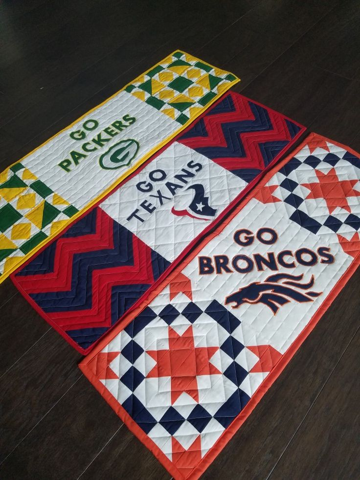 Game day quilted table runners for your favorite team! Go Broncos Texans and Packers.
