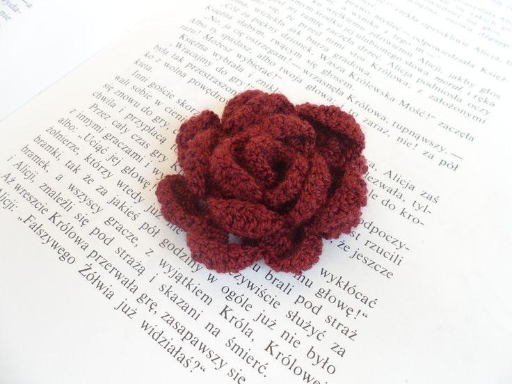 Szydełkowa broszka - róża - DodoHandmade - Broszki