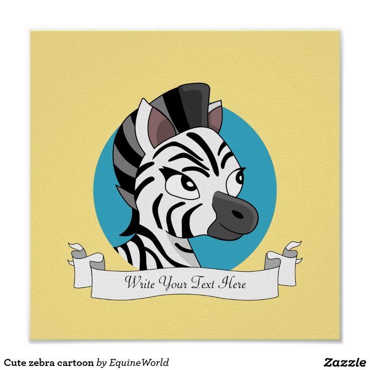 Cute zebra cartoon poster