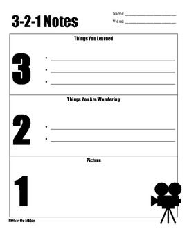Here's a 3-2-1 form for students to record 3 facts, 2 questions, and a picture when watching a video. It can be used as an assignment, assessment, or exit slip. There are two templates, one with lines and one without.