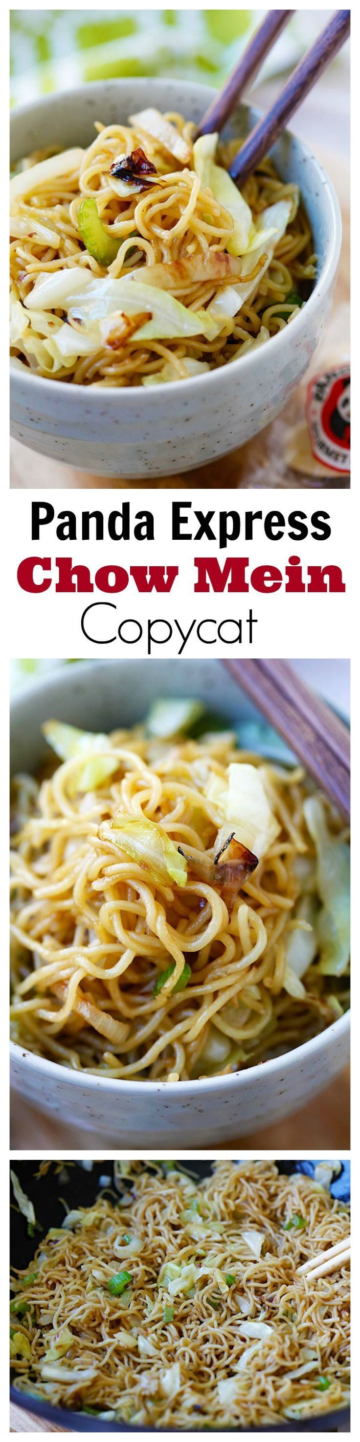Panda Express Chow Mein!! BEST copycat recipe EVER, tastes EXACTLY like Panda Express. So good, so easy, takes 15 mins!!! | rasamalaysia.com | #noodles
