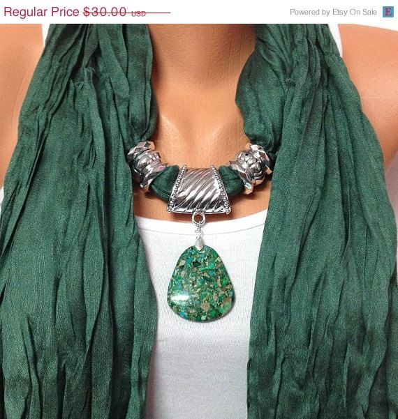 ON SALE Green solid color wrinkle jewelry scarf with natural gemstone pendant Christmas, Birthday gift or for you NEW Season on Etsy, $27.00