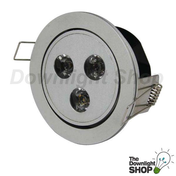 Power Puk LED downlight, anodised silver frame, 4 way tilt adjustable.