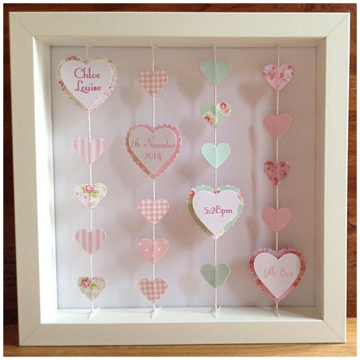 Beautiful, bespoke, handmade frame, personalised with little girls / babys name and date of birth. The frame features four suspended strings of double-sided hearts. Each shape is hand-cut from a mix of coordinating papers in your chosen colour.  The childs name & date-of-birth adds a particularly special finishing touch. The details are printed on a raised personalised plaque. You can choose to add more details on more of the hearts if you would like to.  This is a really unique, original…