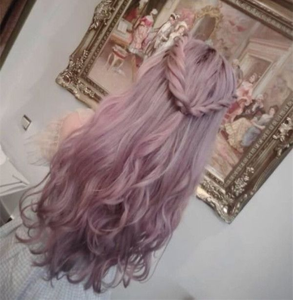 Light gray ombre hair color with pastel pink,plus the braids this hairstyle is so great