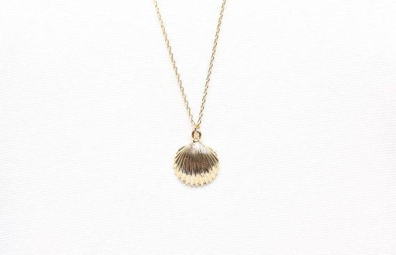 Gouden Schelp ketting Clam halsketting halsketting van de door Jikum