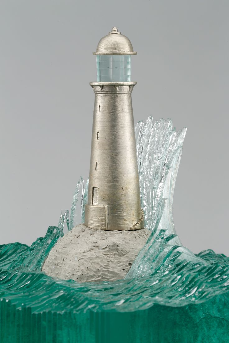 Cottage lighthouse lamp 3 colors - New Layered Glass Wave Sculptures By Ben Young