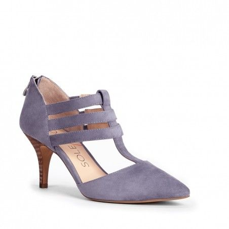 Sole Society Mallory in Moody Blue | Suede Mid Heel with Flattering Triple Straps