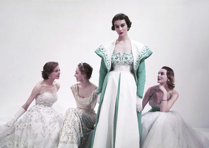 Super model Barbara Goalen dressed in Norman Hartnell, circa 1953