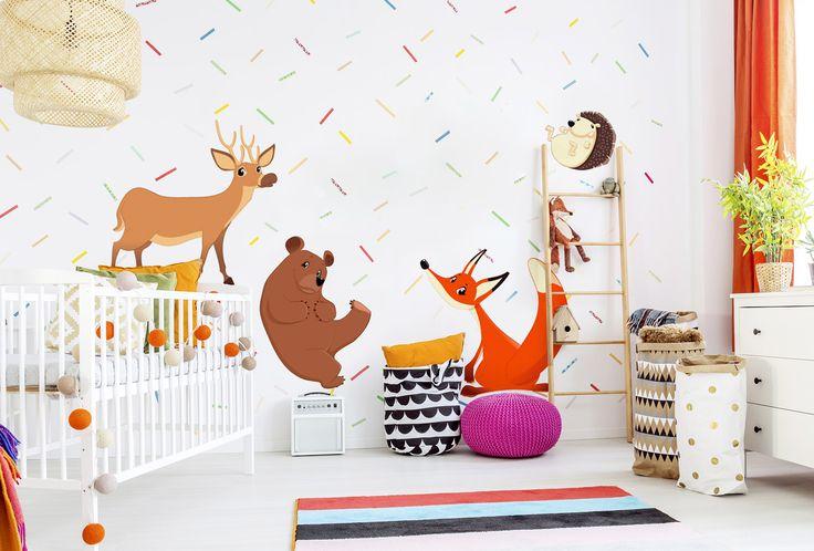 Vinilo decorativo para niños La Pandilla forestal es una buena compañía para los pequeños. Acompañados con los animales alegres pueden divertirse todo el día ツ