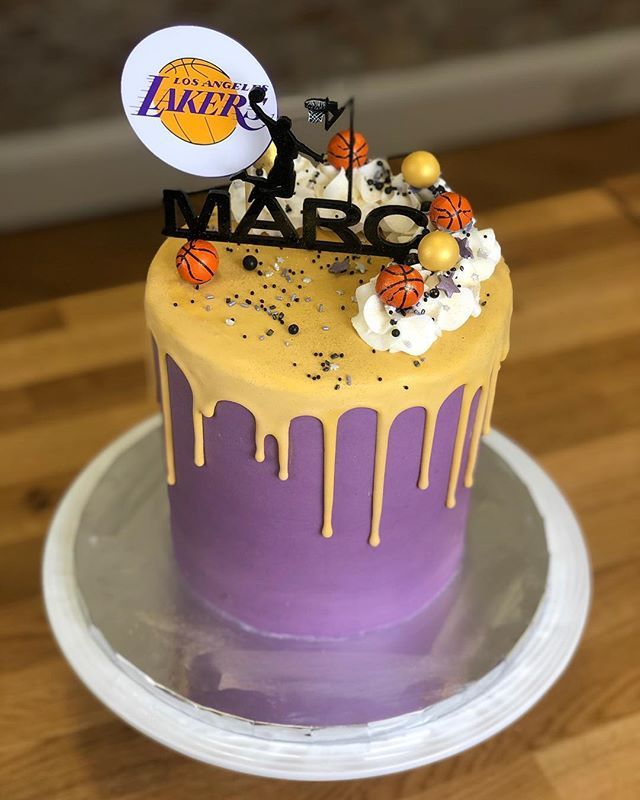 Outstanding Lakers Basketball Themed Birthday Cake For Marc With Images Funny Birthday Cards Online Benoljebrpdamsfinfo