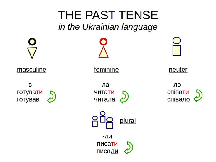 The formation of the past tense in the #Ukrainian language is very simple. Infinitive + ending: - в (masculine singular) - ла (feminine singular) - ло (neuter singular) - ли (plural)