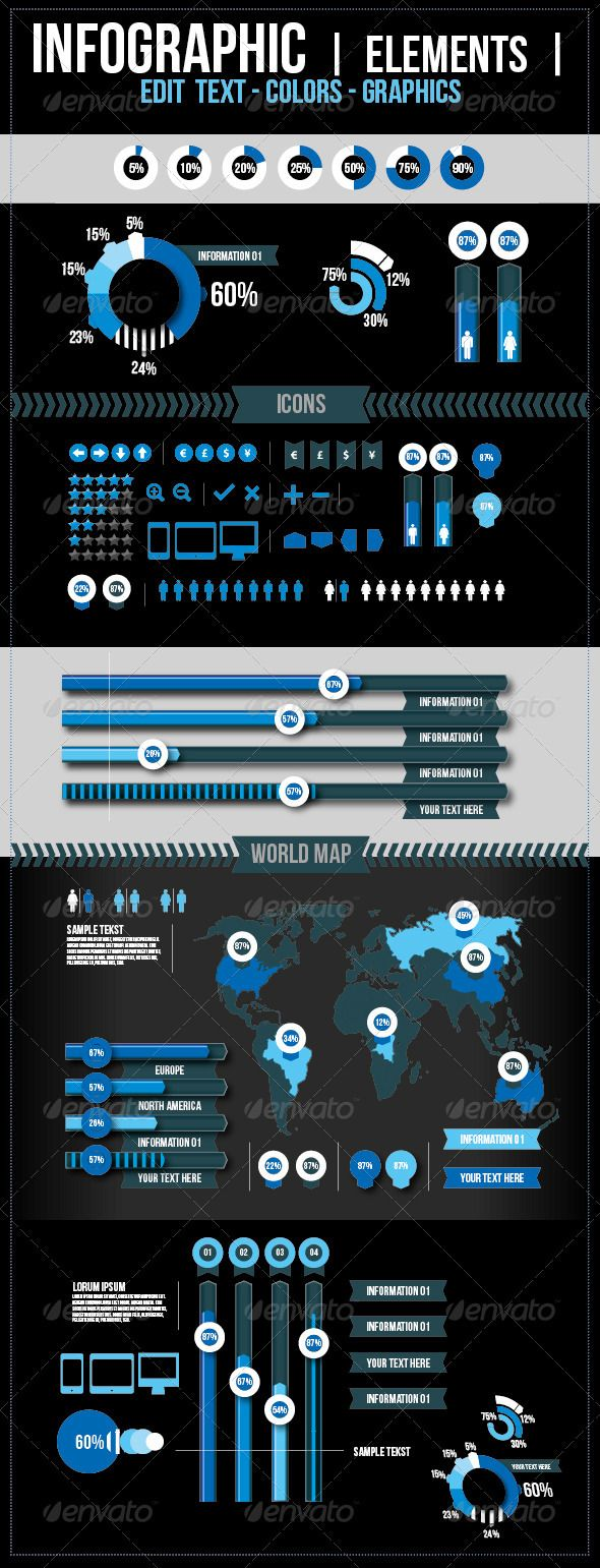Infographic Elements #GraphicRiver A modern Infographic Elements For example use it for an annual report or a presentation of a business. A fully editable and customizable infographic eps-file. You can change colors, text and graphics. You can change All the Pie graphics, with the 'column graph tool' - Free font used, also in the package - Well organized EPS-files, also above preview - Resize easily - Colors can be changed - Text can be changed - All files are 100% vector shapes, easy to…