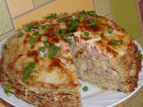 Кабачково-сырный тортик с мясомКабачок-300 гр. Сыр-100 гр. Яйцо-1 шт. Мука-2…