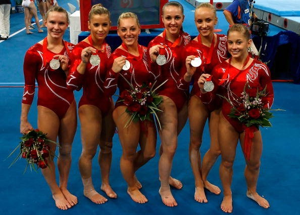US women's gymnastics Olympic Team... ok so I dont feel as bad now with how short alex is..  shawn was really short by her team mates too