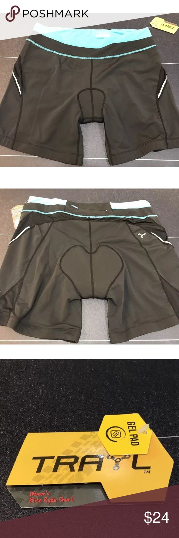 TRAYL Women's Black Blue Padded Cycling Shorts XL New with tags. Trayl Shorts