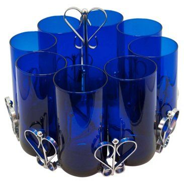 Check out this item at One Kings Lane! Cobalt Blue Glasses w/ Caddy, 9 Pcs