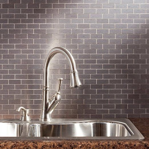 Amazon.com: Aspect A95 50 Peel And Stick Backsplash Subway Metal Tile For