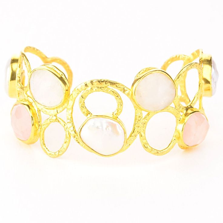 Cuff and Stone Gold Pearl and Rose Quartz Cuff