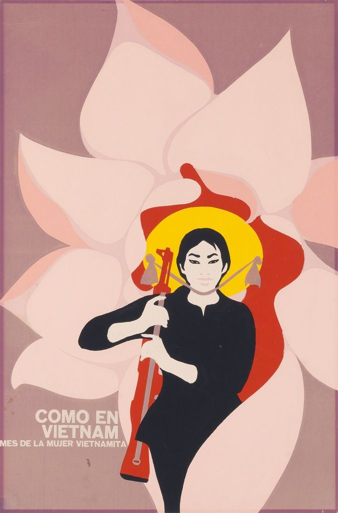 """""""These posters by Cuban artist Felix René Mederos Pazos were the product of a trip Mederos took to Vietnam in 1969, on assignment from the Cuban government's Department of Revolutionary Orientation.  Cuban artists often addressed international subjects, in alignment with the Cuban Revolution's political focus. (Other posters produced around this time expressed solidarity with anti-colonial guerrillas in Angola, Black Panthers in Watts, and the people of Hiroshima.)"""""""