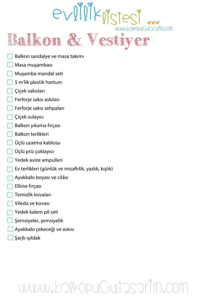Balkon & vestiyer ceyiz listesi