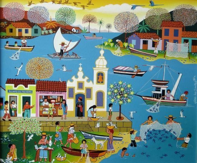 PESCADA - Pintura,  60x50 cm ©2008 por Militão Dos Santos -                            Art naïf, Marinha.paisagem, pescadores
