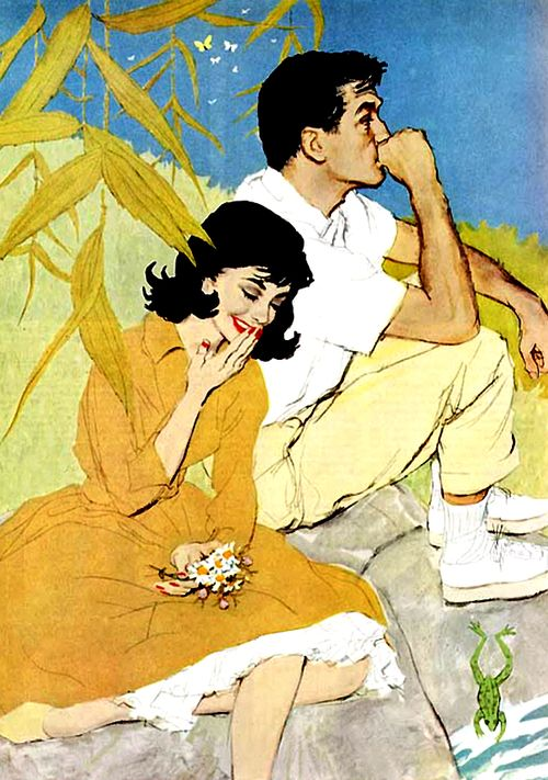 """""""Inside Joke,"""" by Joe De Mers (1910-1984) - illustrated women's magazines in the 1940s and 1950s, a market characterized by simplified pictures of pretty girls against plain backgrounds http://illustrationart.blogspot.com/2011/02/joe-de-mers-tonsorial-parlor-and.html"""