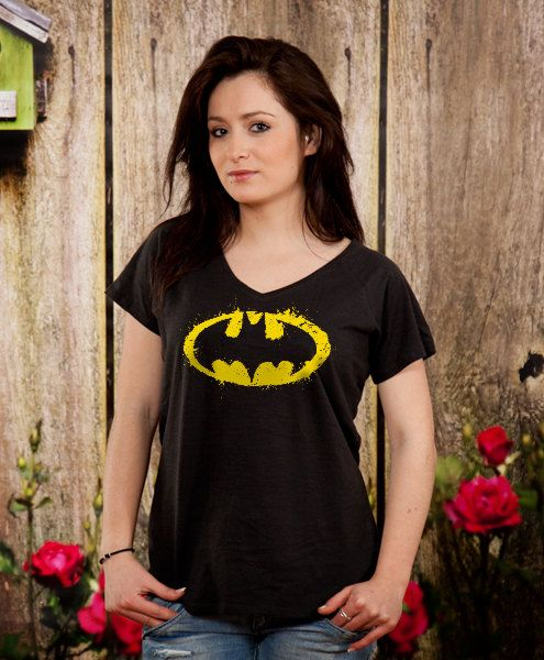 Batman v-neck tshirt womens vneck tee sister gift wife by store365